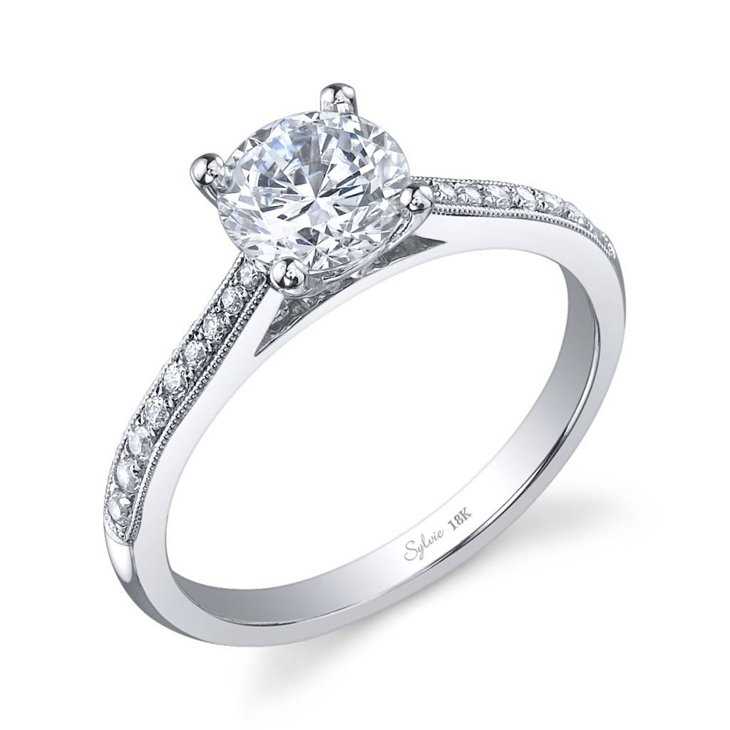 Prong Set Diamond Shank Engagement Ring: Sylvie Collectionalexis In Flush Setting Engagement Rings (Gallery 10 of 15)