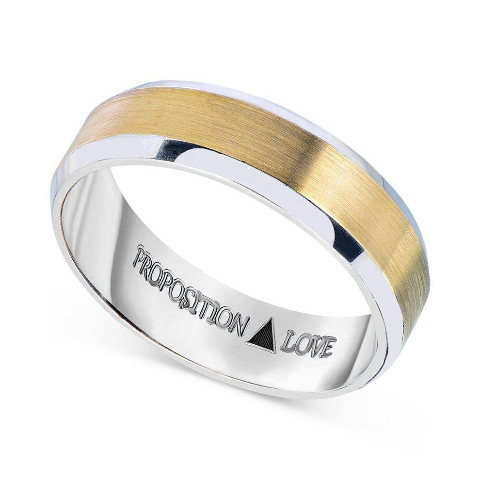 Proposition Love Women's Men's Wedding Band In 14K White And With White And Yellow Gold Wedding Bands (View 10 of 15)