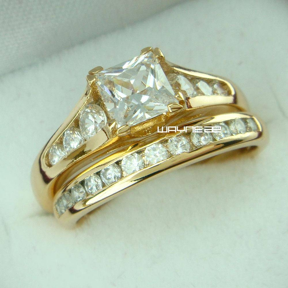 R25518k Gold Filled Inlay Swarovski Crystal Wedding Engagement Throughout Swarovski Crystal Wedding Rings (View 5 of 15)
