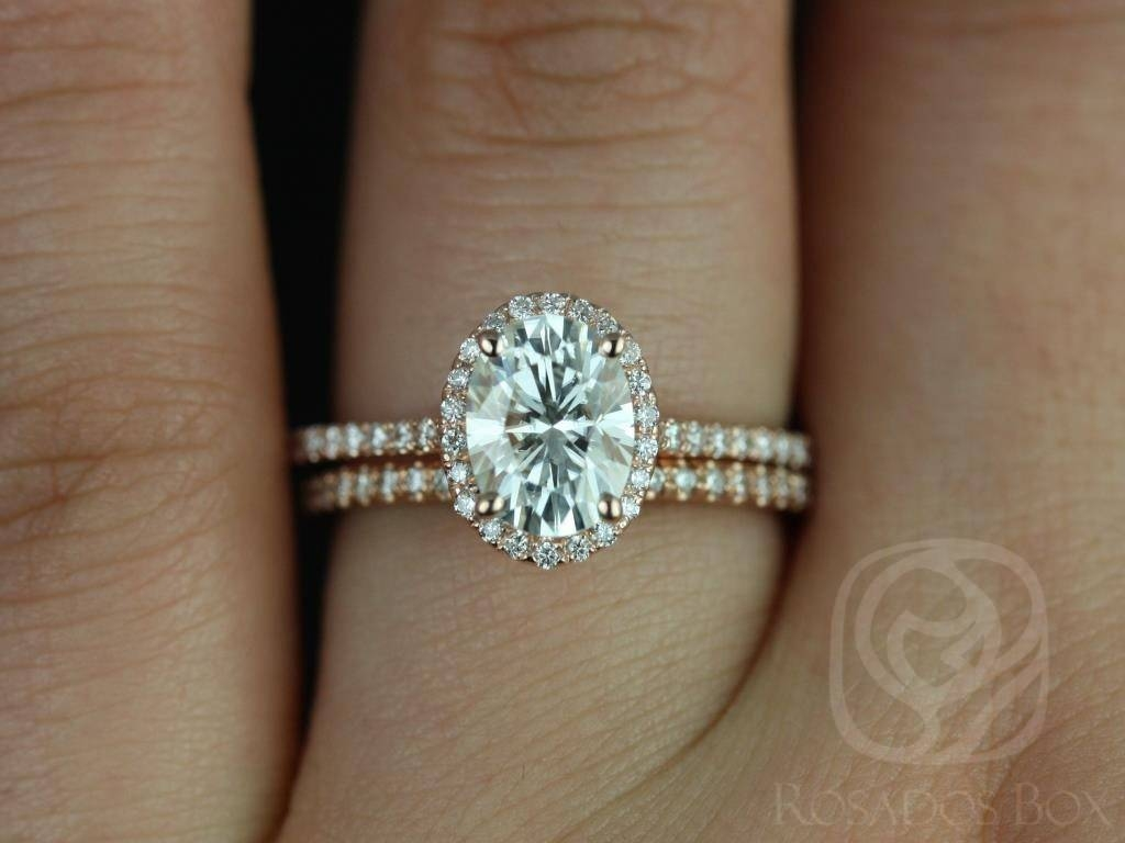 Rachel Rose Gold Thin Oval F1  Moissanite And Diamonds Halo In Oval Halo Wedding Ring Sets (View 8 of 15)
