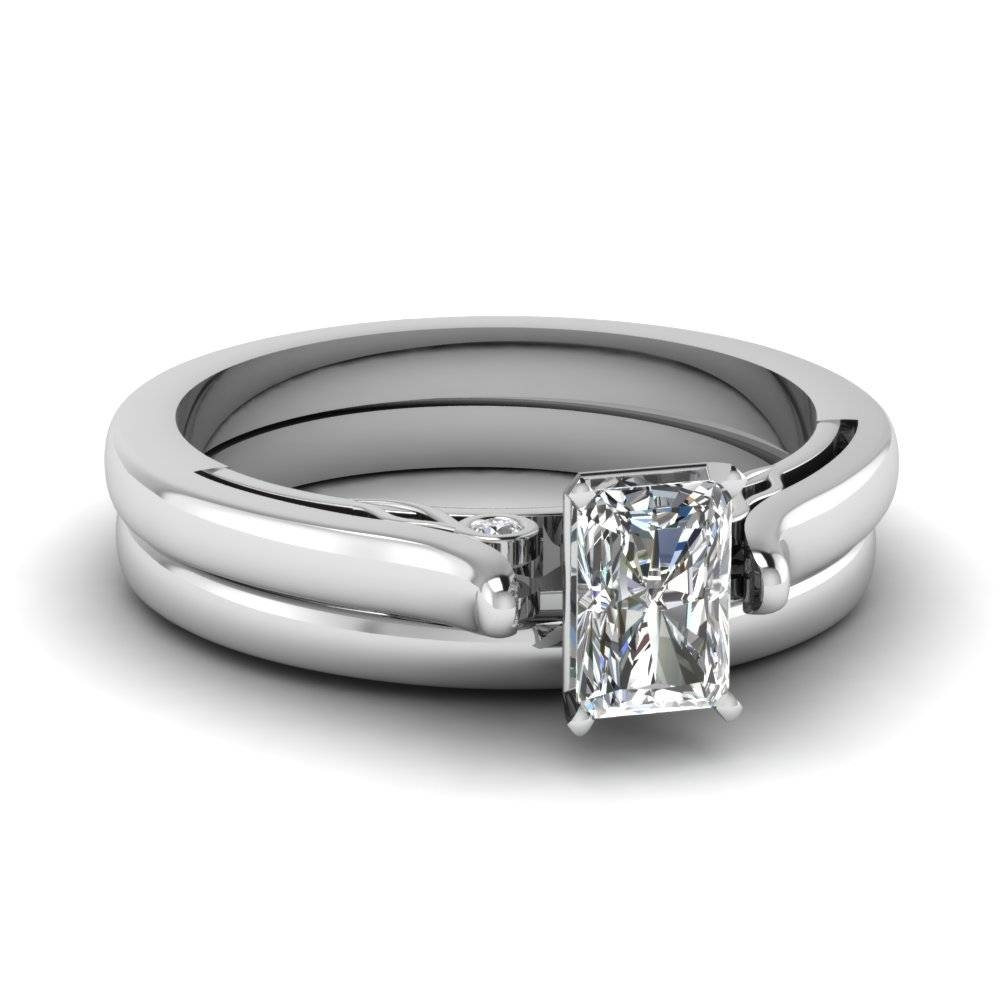 Radiant Cut Diamond Cathedral Wedding Ring Set In 14K White Gold Regarding Radiant Cut Engagement Ring Settings (Gallery 4 of 15)