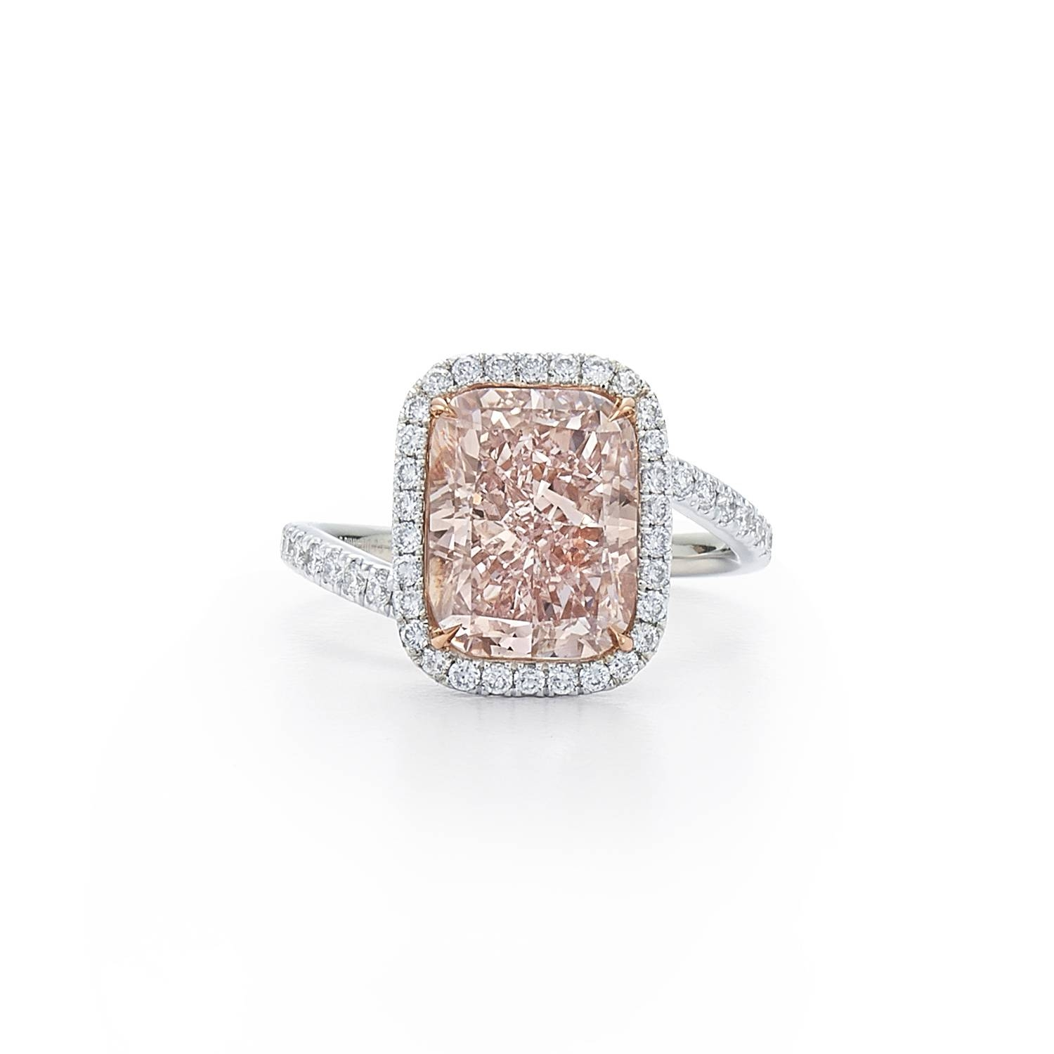 Radiant Fancy Pink Diamond Ring With Diamond Halo And Band (View 14 of 15)
