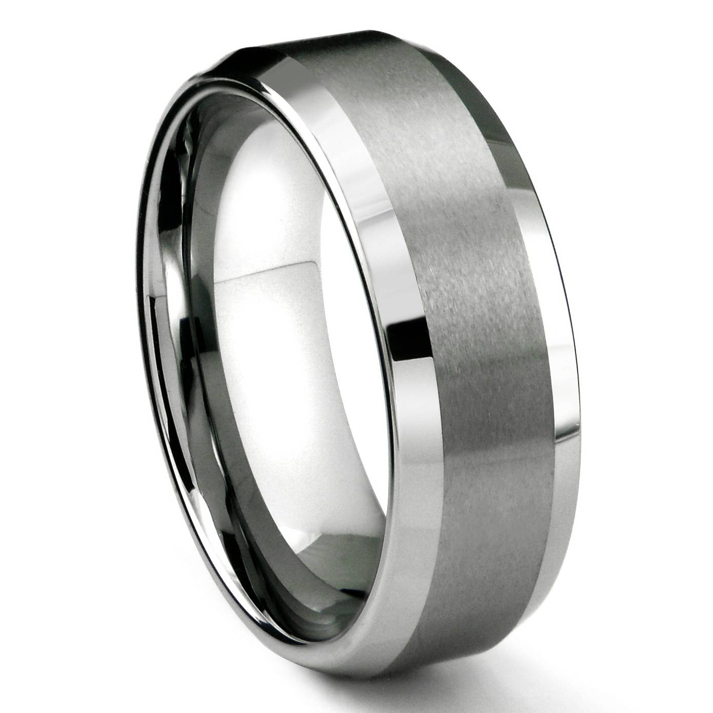 Rasoret Tungsten Carbide Ring In Comfort Fit And Satin Finish With Most Up To Date Mens Beveled Wedding Bands (View 14 of 15)