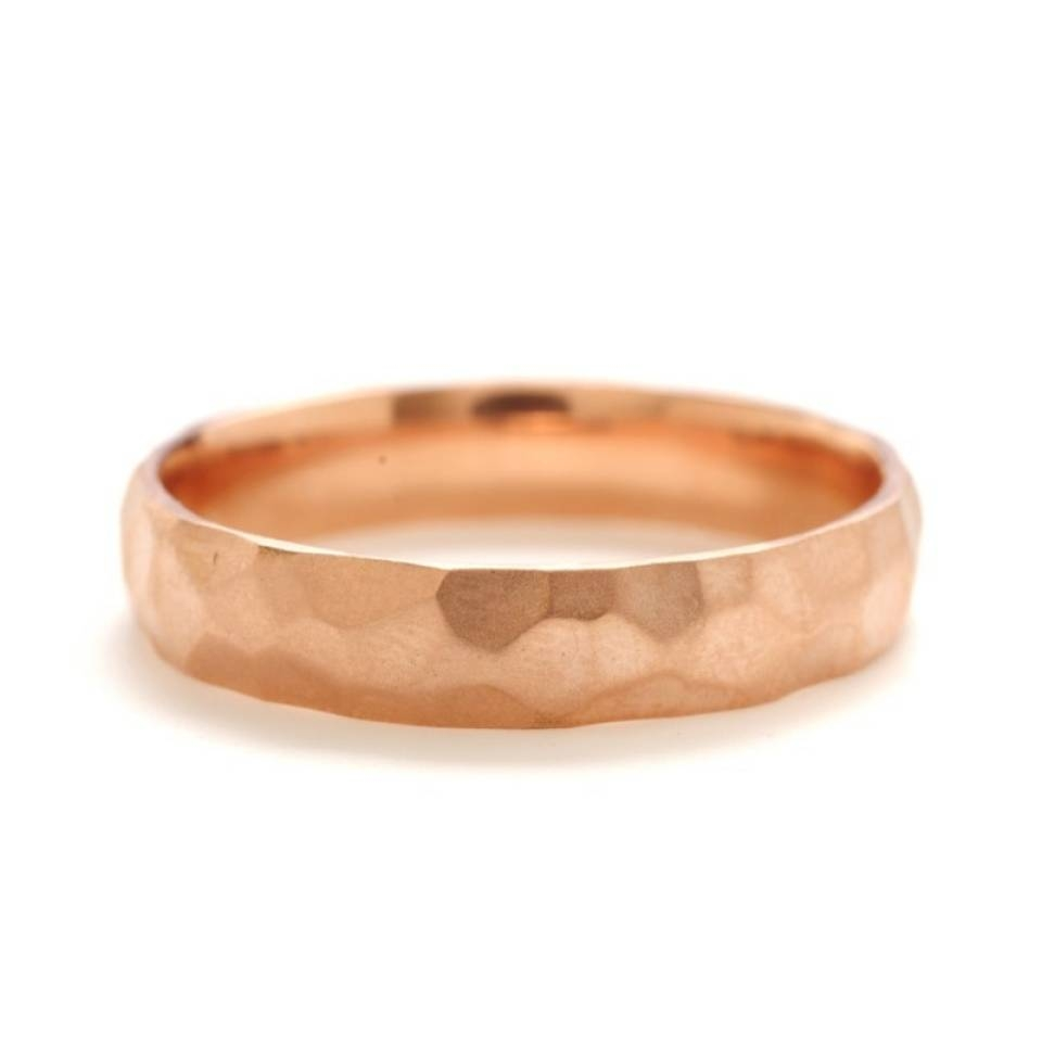 Rebecca Overmann Unisex Hammered Rose Gold Wedding Band For Hammered Wedding Bands For Men (View 12 of 15)