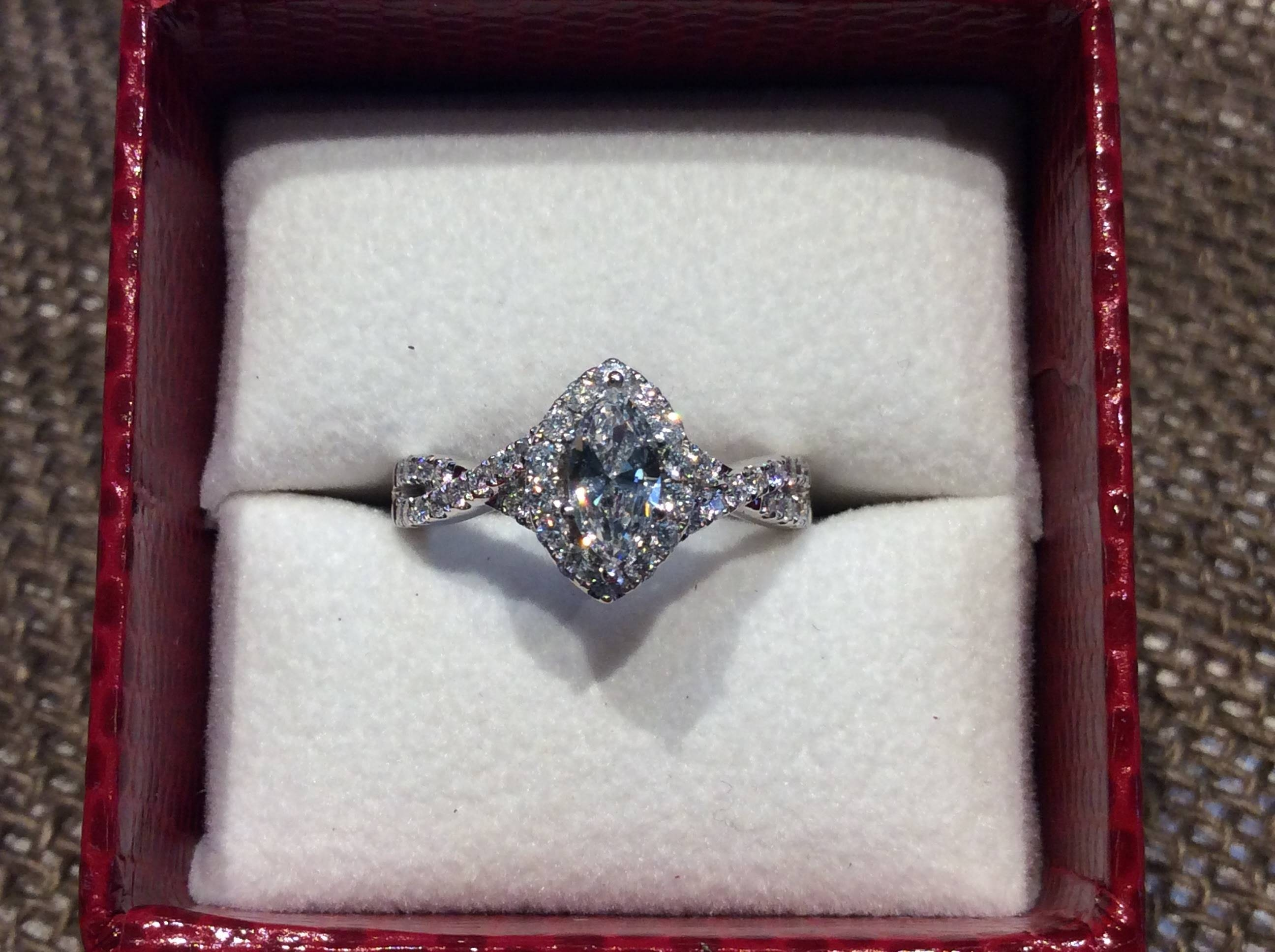 Red Box Sale – 50% Off – Marquise Diamond Halo Ring | Neenah, Wi Throughout Engagement Rings In The Box (Gallery 3 of 15)