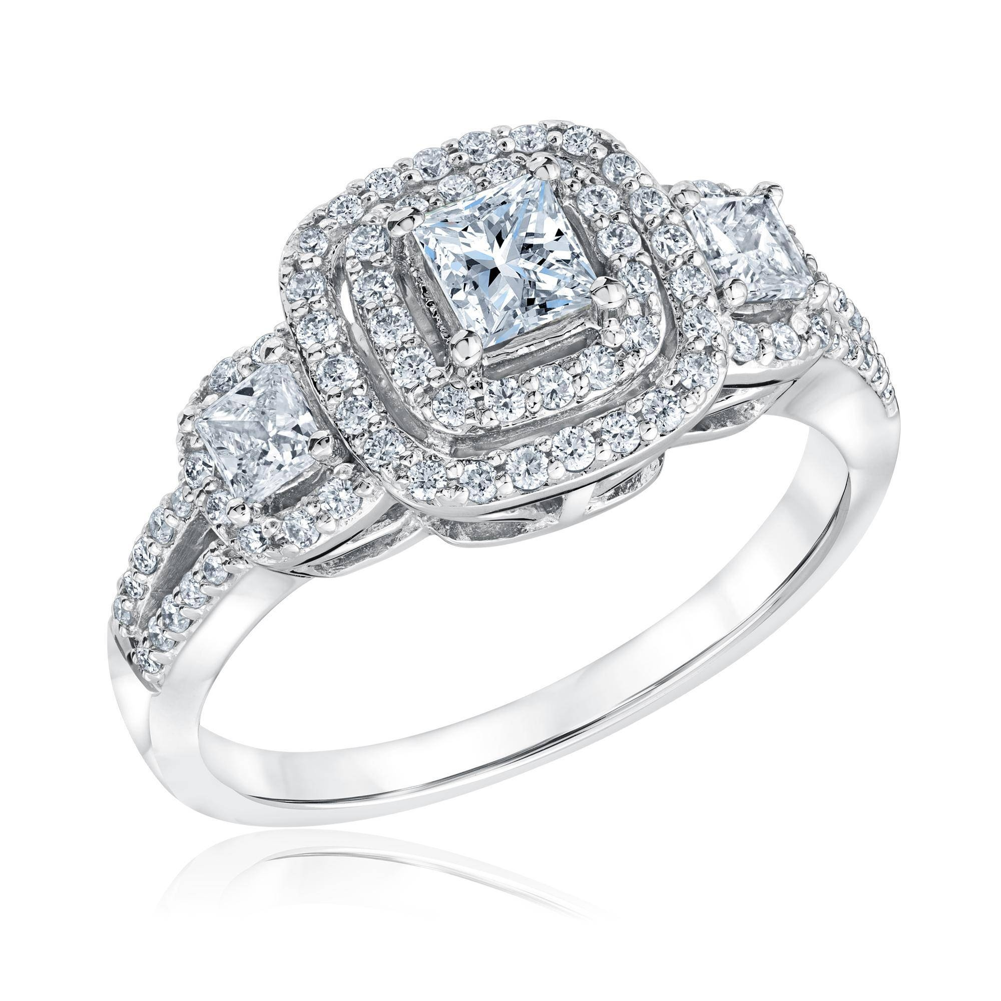 Reeds Jewelers Exclusive Forever Beautiful Princess Three Diamond Throughout Square Double Halo Engagement Rings (View 13 of 15)