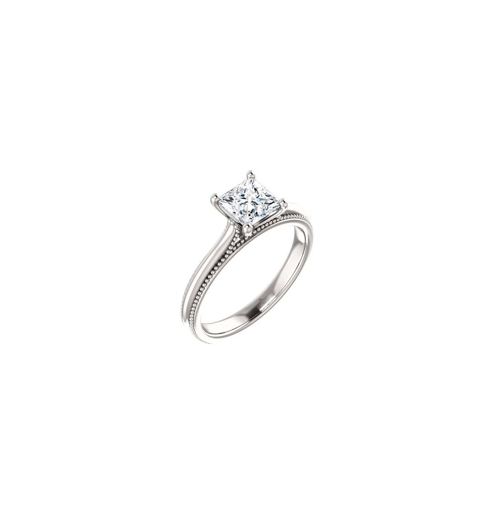 Ring Sterling Silver / Princess Cut Within Silver Princess Cut Diamond Engagement Rings (Gallery 14 of 15)