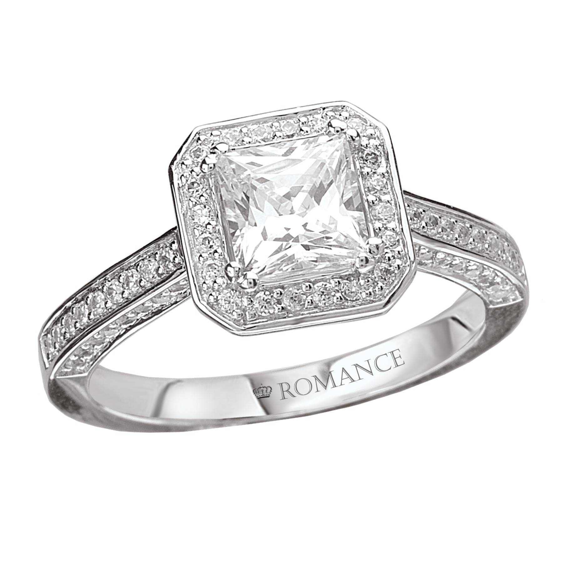 Romance Princess Cut Diamond Engagement Ring | Ipunya Within Most Popular Square Cut Diamond Wedding Bands (Gallery 12 of 15)