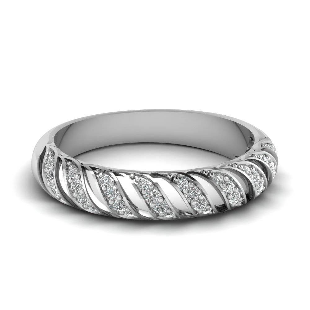 Rope Design Diamond Band In 14k White Gold | Fascinating Diamonds With Latest Pave Set Diamond Wedding Bands (Gallery 5 of 15)