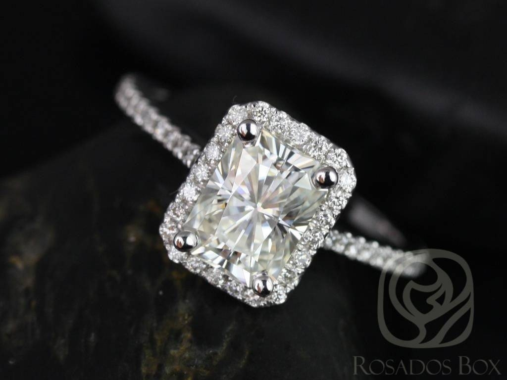 Rosados Box Brianna 8X6Mm White Gold Radiant F1+ Moissanite And In Rectangular Radiant Cut Diamond Engagement Rings (Gallery 9 of 15)