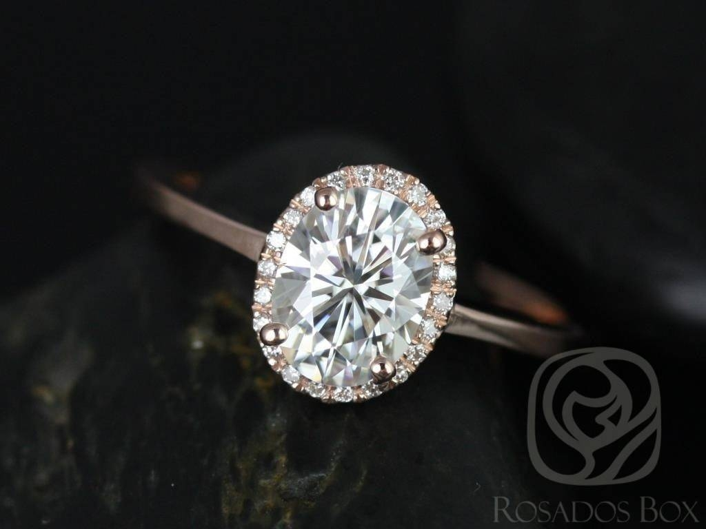 Rosados Box Celeste 8X6Mm Rose Gold Oval F1  Moissanite And Throughout Oval Halo Wedding Ring Sets (View 10 of 15)