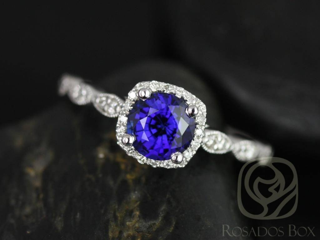 Rosados Box Christie 6Mm White Gold Round Blue Sapphire And With White Gold Engagement Rings With Blue Sapphire (View 10 of 15)