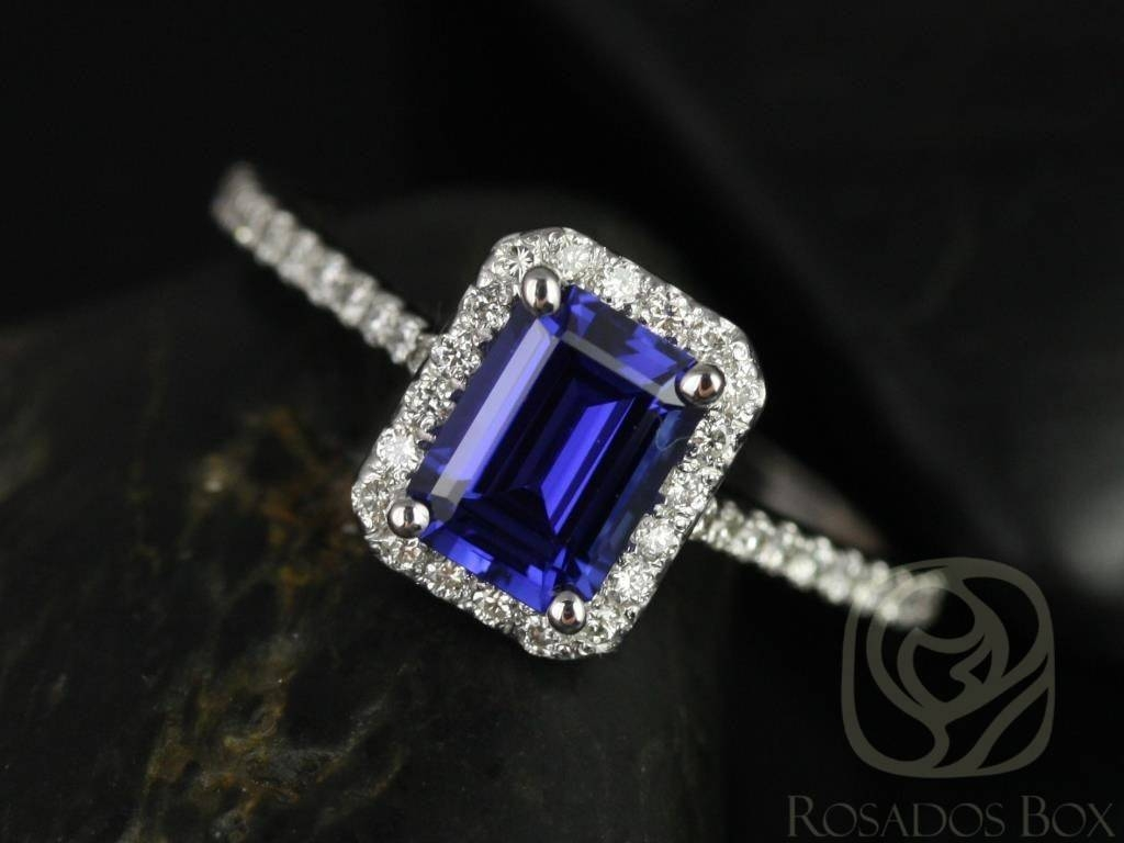 Rosados Box Lisette 7X5Mm White Gold Rectangle Emerald Cut Blue Throughout White Gold Engagement Rings With Blue Sapphire (View 11 of 15)