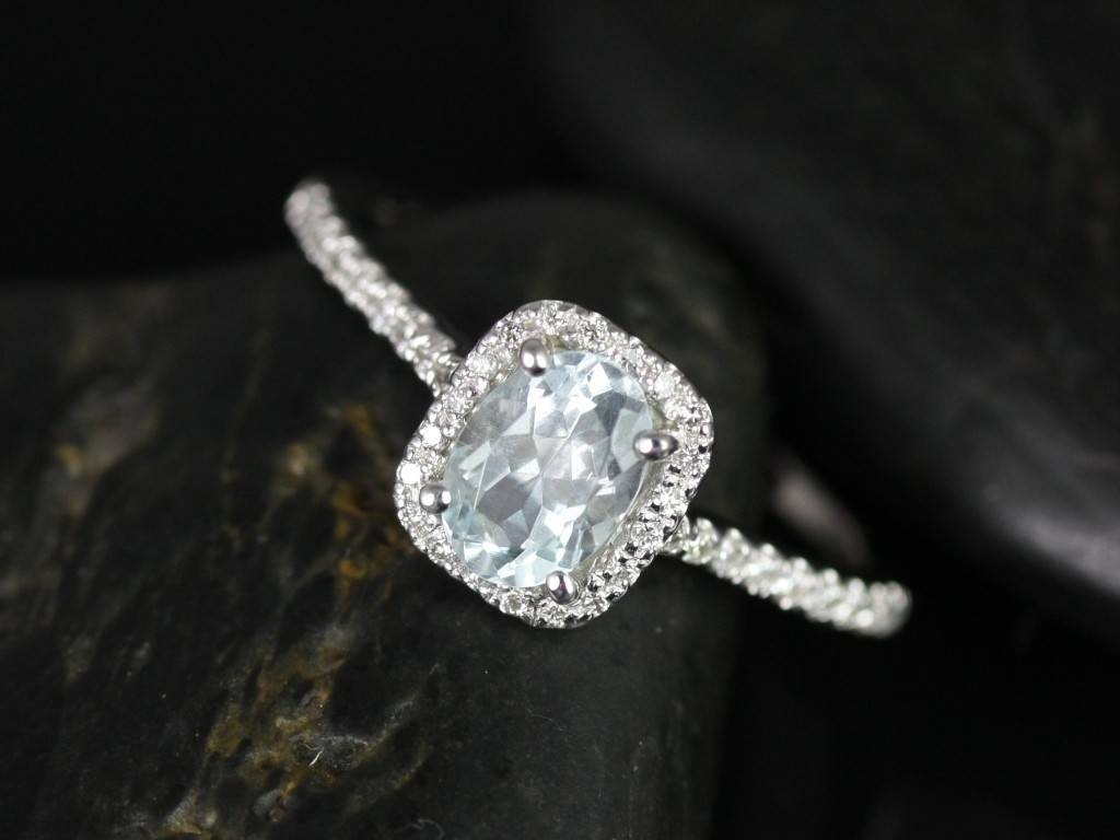 Rosados Box Romani White Gold Aquamarine And Diamond Cushion Halo With Regard To Diamond Aquamarine Engagement Rings (View 5 of 15)