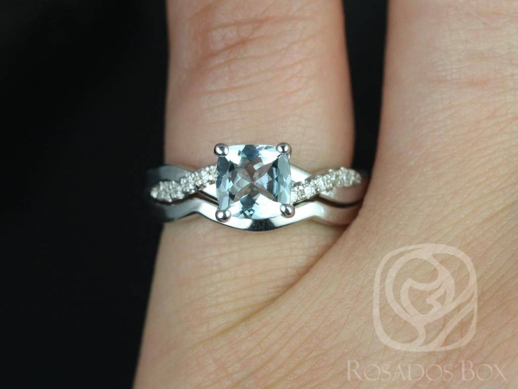 Rosados Box Tressa 6Mm & Plain Band 14Kt White Gold Cushion Pertaining To Twist Wedding Bands (Gallery 8 of 15)