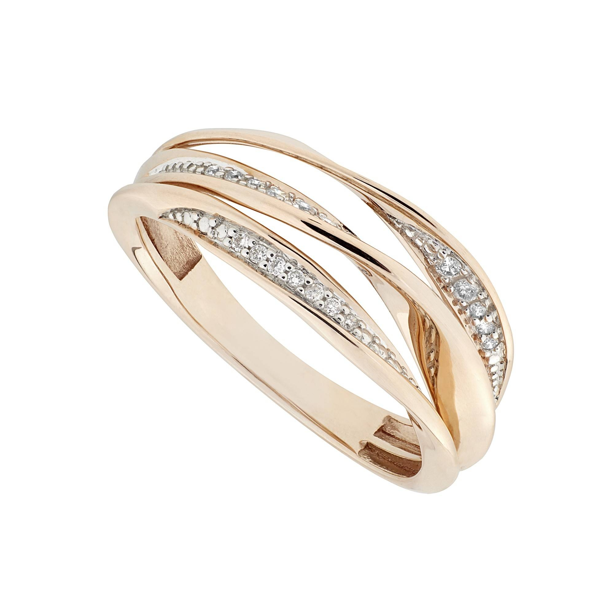 Rose And White Gold Diamond Crossover Ring In Crossover Engagement Rings (View 12 of 15)