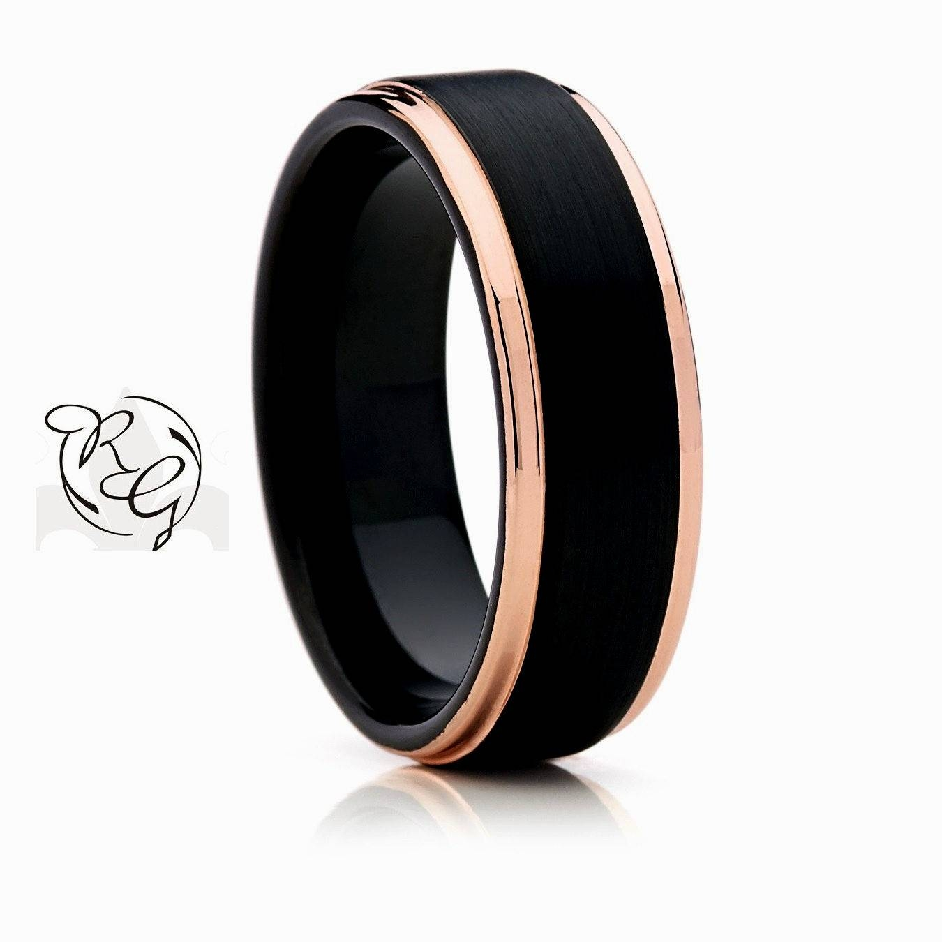 Rose Gold And Black Mens Wedding Band – Wedding Party Decoration Throughout Gold And Black Mens Wedding Bands (Gallery 8 of 15)