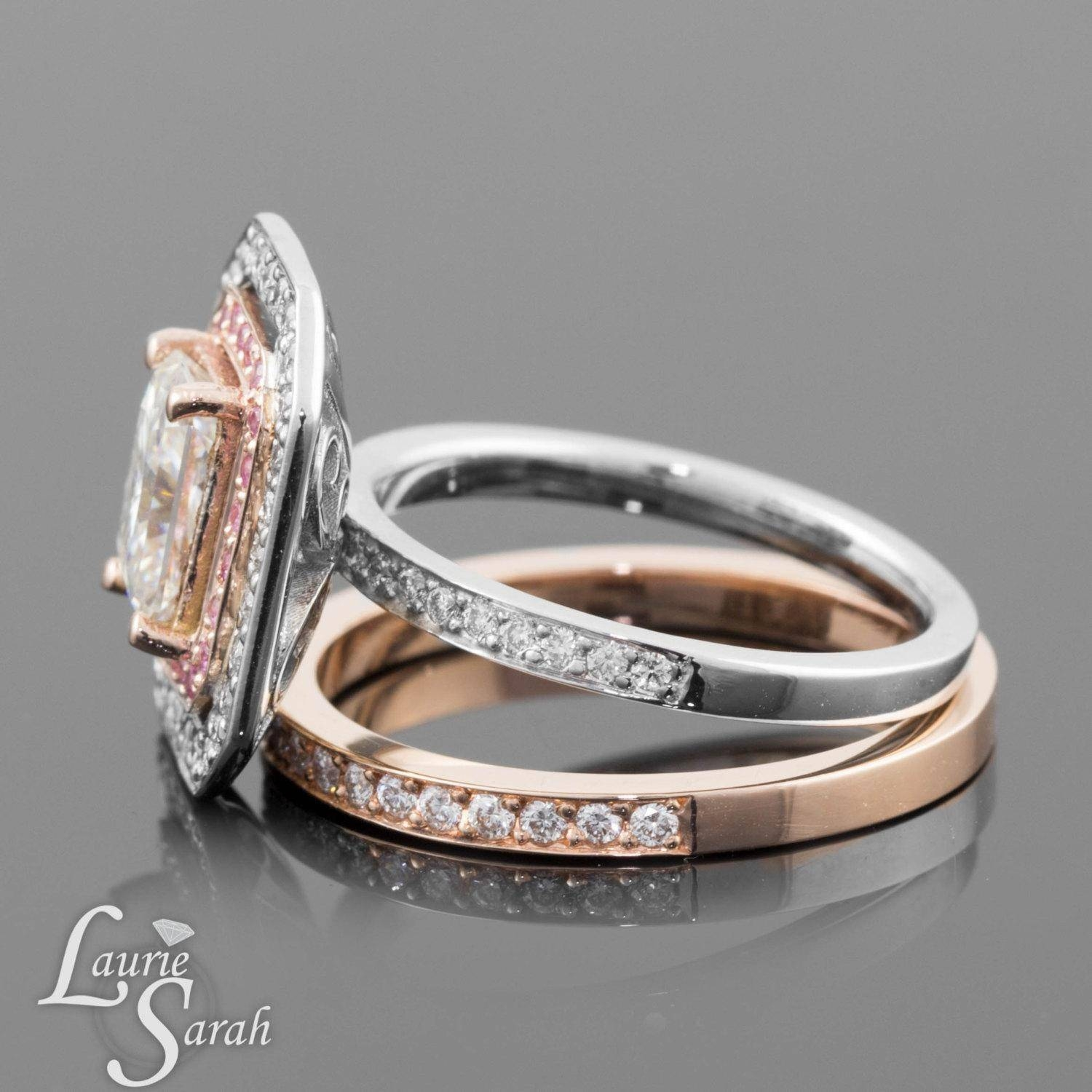 Rose Gold And White Gold Wedding Rings Tags : Wedding Ring That Pertaining To Most Recently Released White Gold Engagement Rings With Rose Gold Wedding Bands (View 5 of 15)