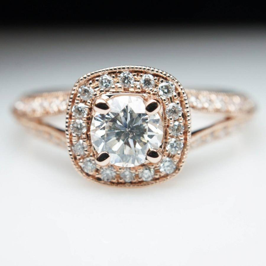 Rose Gold Cushion Halo Diamond Engagement Ring Vintage Style Split Pertaining To Antique Round Diamond Engagement Rings (Gallery 11 of 15)