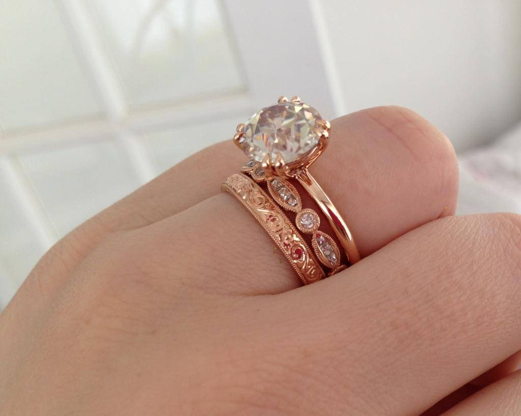 Rose Gold Diamond Engagement Tags : Wedding Ring Rose Gold Modern Throughout Rose Gold Womens Wedding Bands (View 9 of 15)