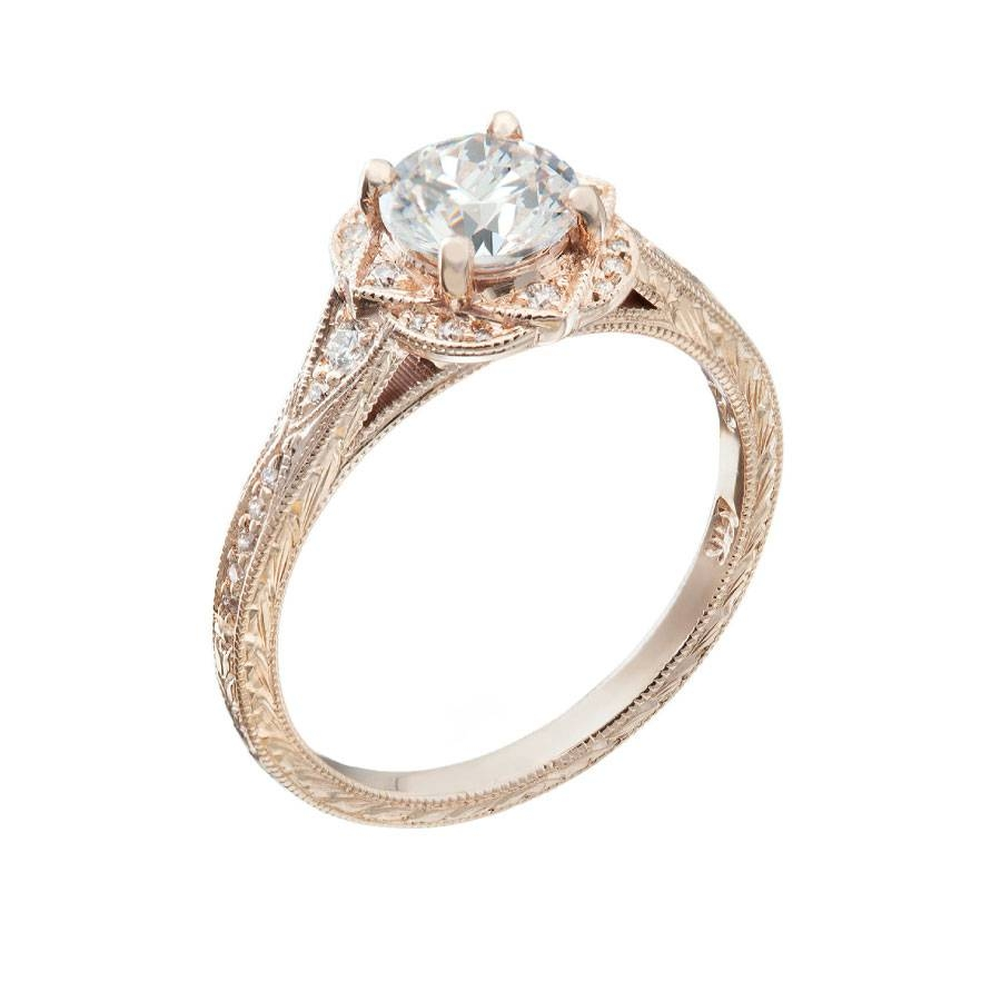 Rose Gold Diamond Stylized Halo Setting Vintage Engagement Ring With Regard To Chicago Diamond Engagement Rings (Gallery 11 of 15)