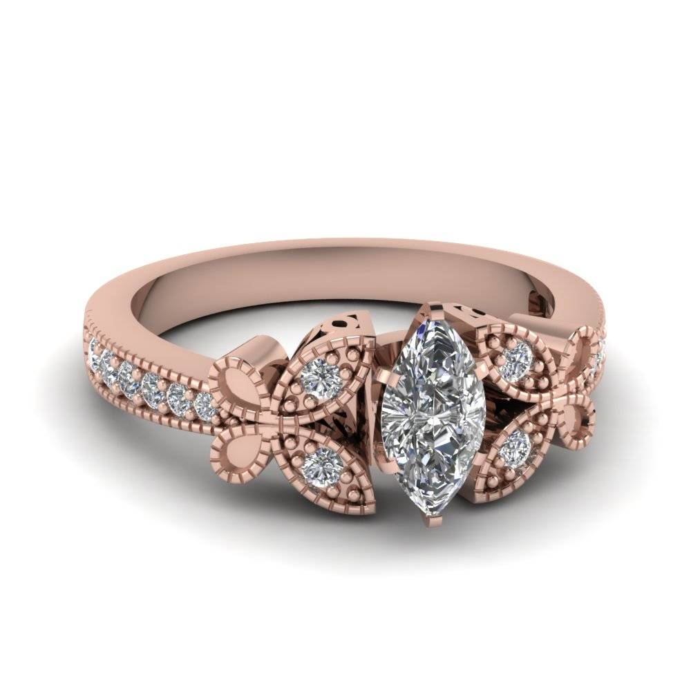 Rose Gold Marquise White Diamond Engagement Wedding Ring In Pave Throughout Marquise Diamond Engagement Rings Settings (View 12 of 15)