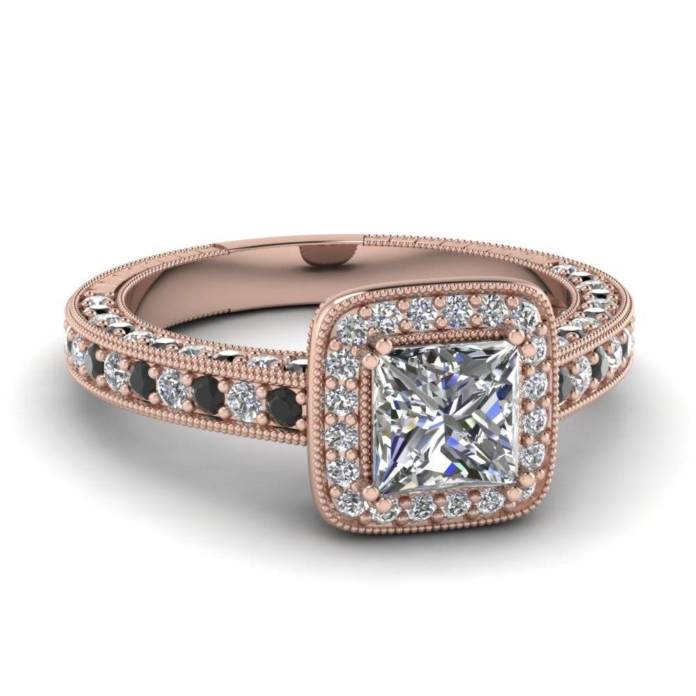 Rose Gold Princess White Diamond Engagement Wedding Ring With For 14K Black Gold Princess Diamond Engagement Rings (Gallery 6 of 15)