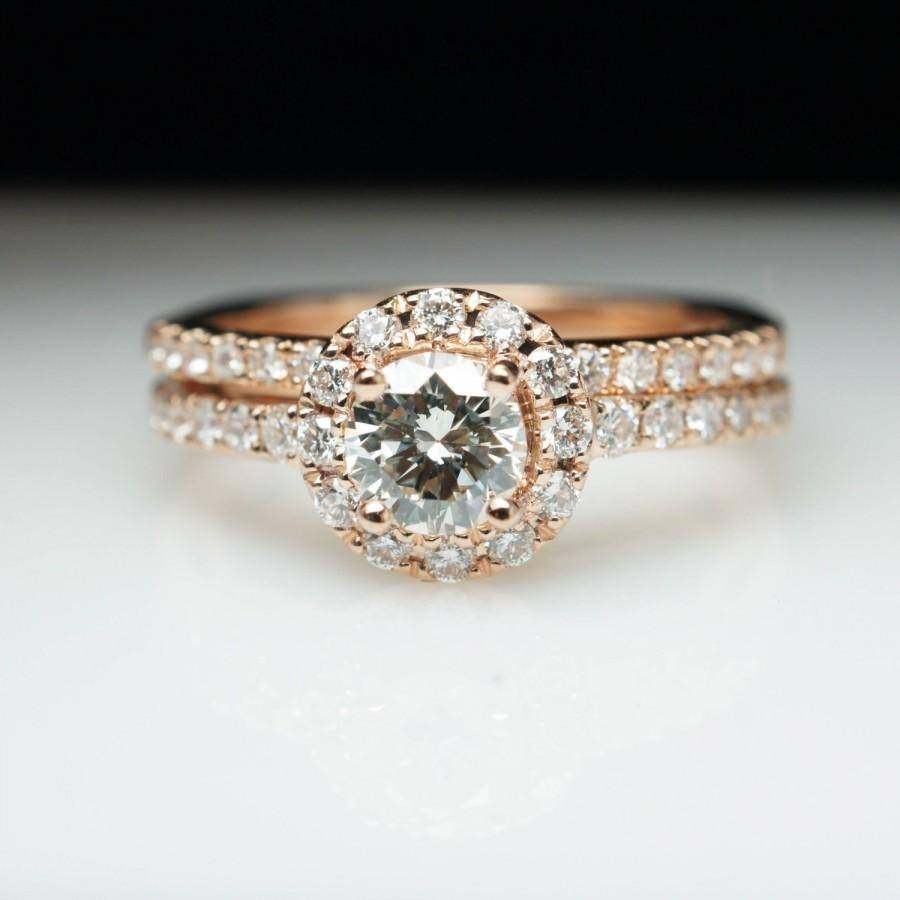 Rose Gold Round Diamond Halo Engagement Ring & Matching Wedding With Engagement Rings Wedding Bands Sets (View 11 of 15)