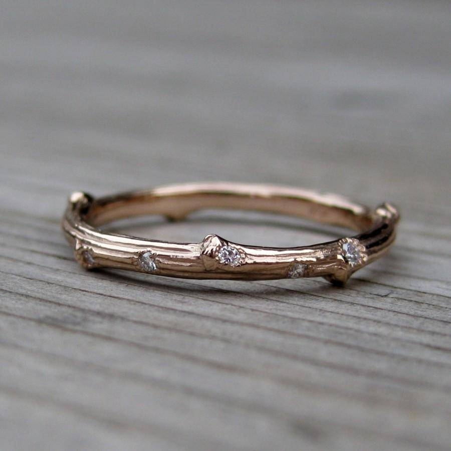 Rose Gold Scattered Diamond Branch Wedding Band: Yellow, Rose, Or For Most Current 2mm Rose Gold Wedding Bands (View 15 of 15)