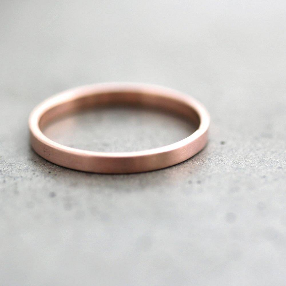 Rose Gold Wedding Band Stackable Ring 2mm Slim Flat Recycled Regarding 2017 2mm Rose Gold Wedding Bands (View 6 of 15)