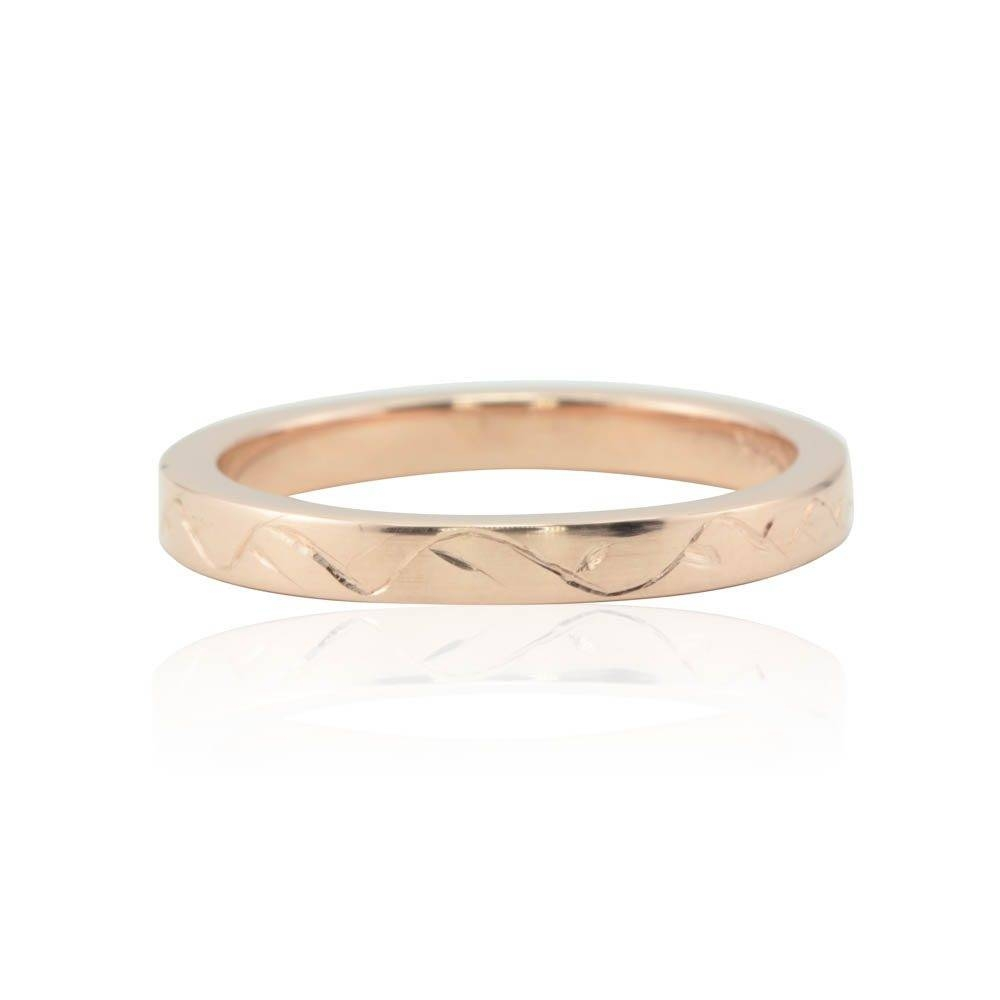 Rose Gold Wedding Band With Hand Engraved Vine Motif ( (View 12 of 15)
