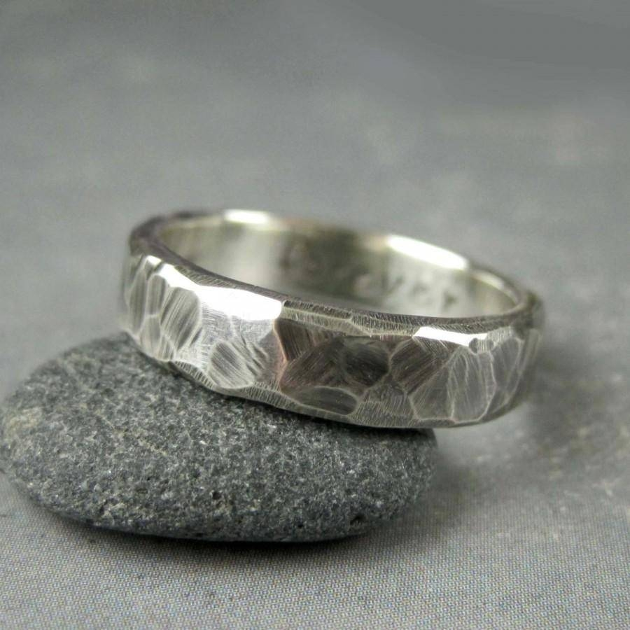 Rough Hewn Mens Wedding Band, 5 Or 6Mm, Custom Engraved, Hammered With Regard To Hammered Wedding Bands For Men (Gallery 7 of 15)