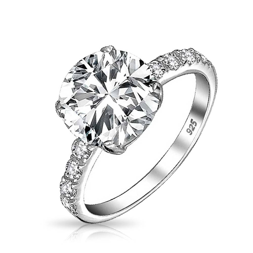 Round 3.5Ct Solitaire Cz Engagement Ring With Side Stones Silver With Regard To Side Stone Engagement Rings (Gallery 6 of 15)