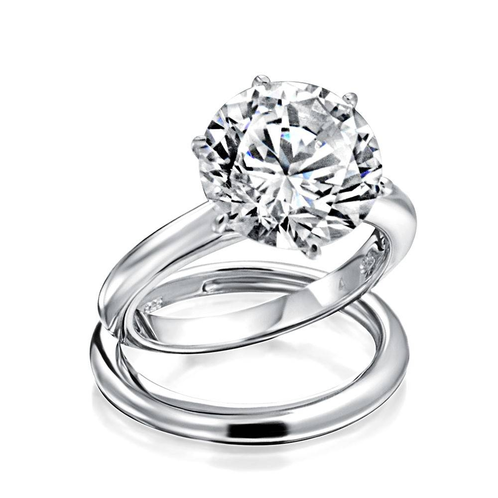 Round 3.5Ct Solitaire Cz Engagement Wedding Ring Set Regarding Solitaire Rings With Wedding Band (Gallery 13 of 15)