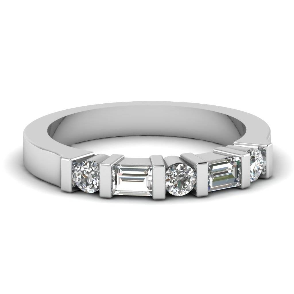 Round & Baguette Vintage Wedding Band In White Gold With Baguette Cut Diamond Wedding Bands (View 11 of 15)