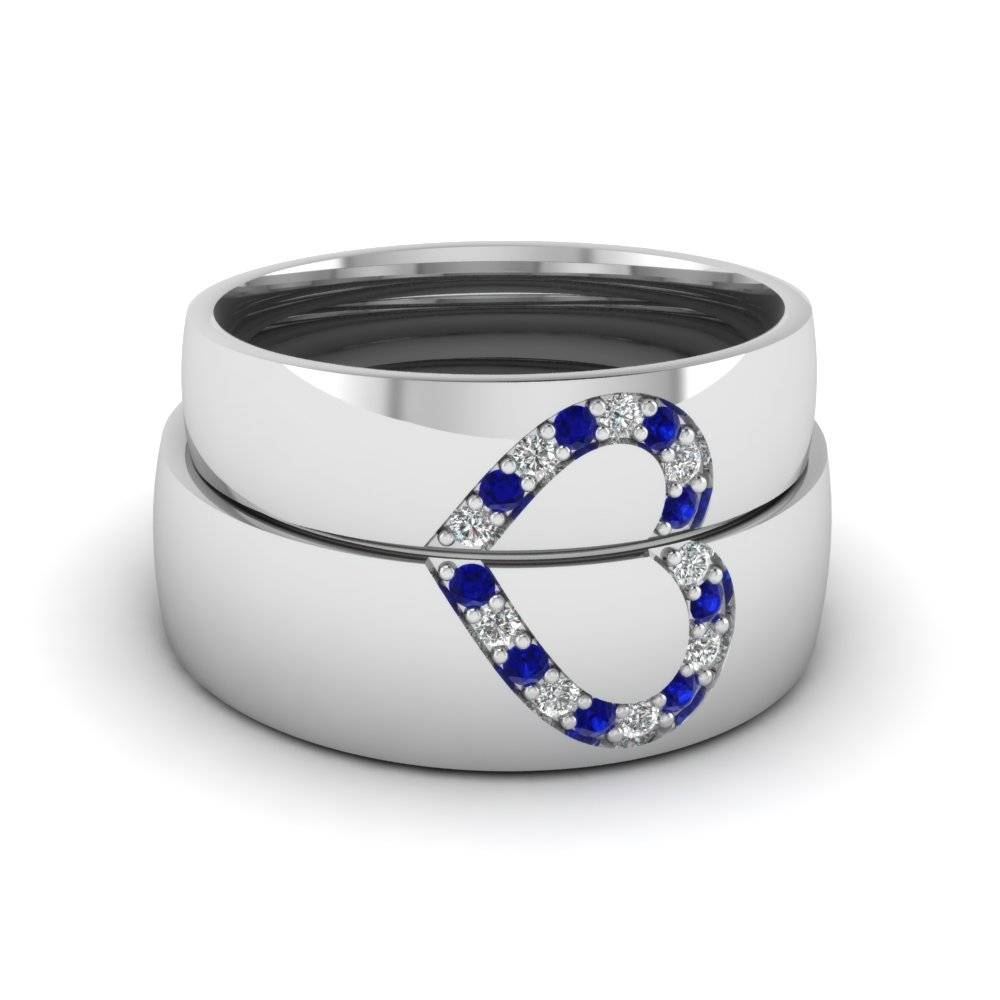Round Blue Sapphire Wedding Band With White Diamond In 14K White Regarding Sapphire Wedding Bands (View 10 of 15)
