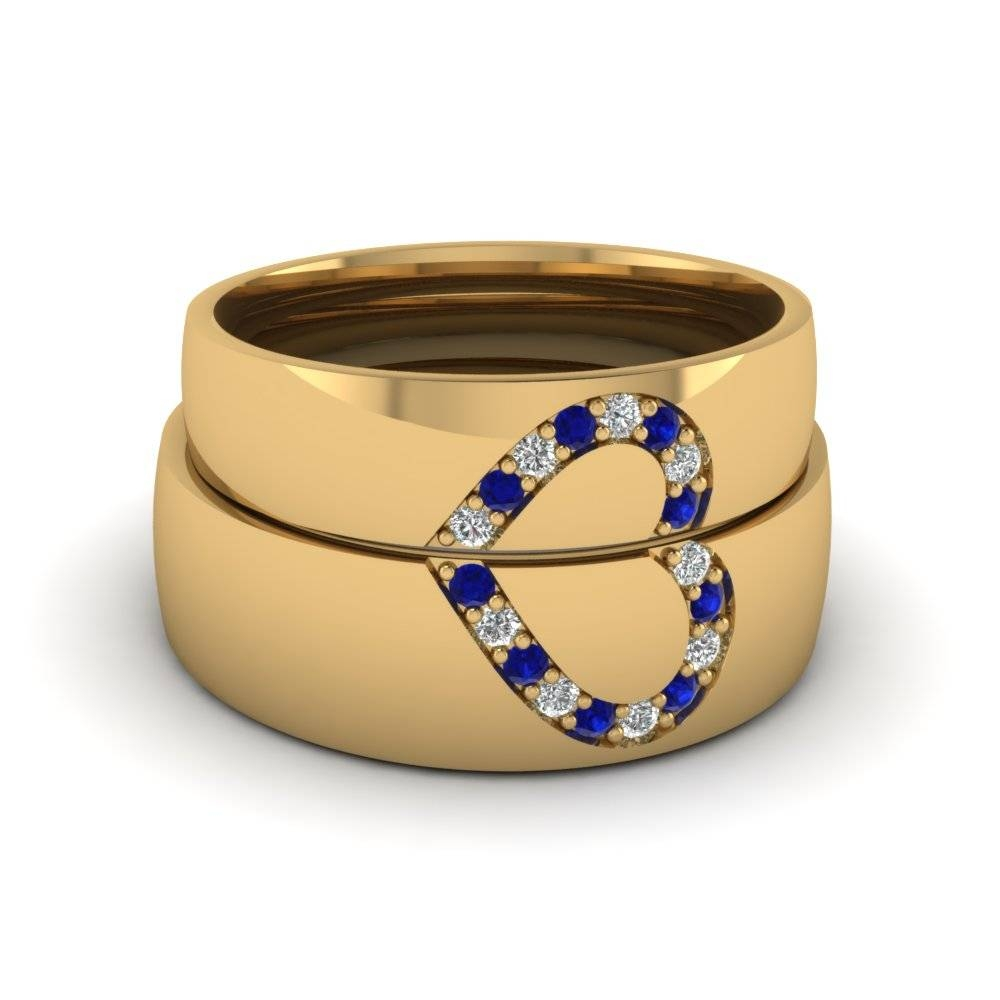 Round Blue Sapphire Wedding Band With White Diamond In 14K Yellow For Most Recently Released Sapphire Wedding Bands For Women (Gallery 14 of 15)