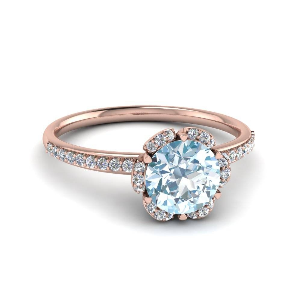 Round Cut Aquamarine Floral Side Stone Colored Engagement Ring In In Round Cut Engagement Rings With Side Stones (View 9 of 15)