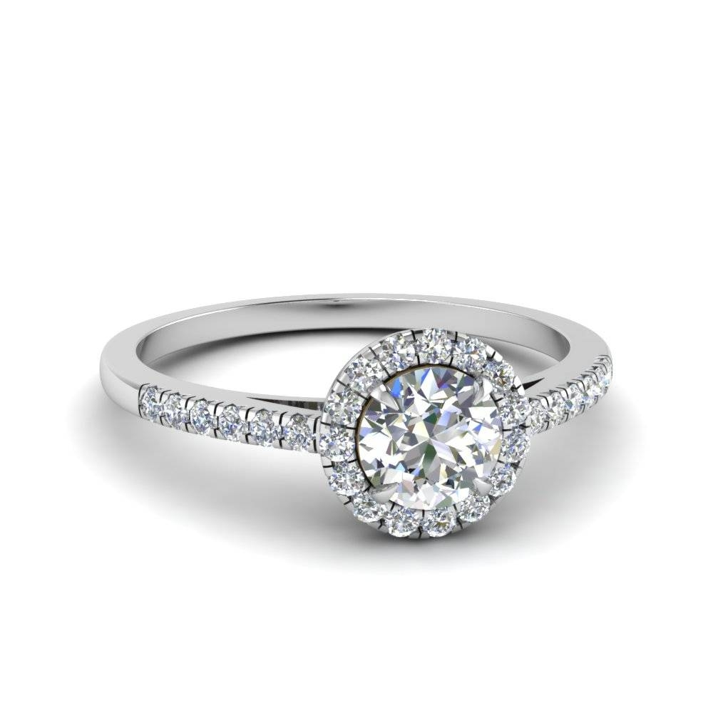 Round Cut Beautiful French Pave Halo Diamond Engagement Ring In Throughout Round Cut Halo Engagement Rings (Gallery 1 of 15)