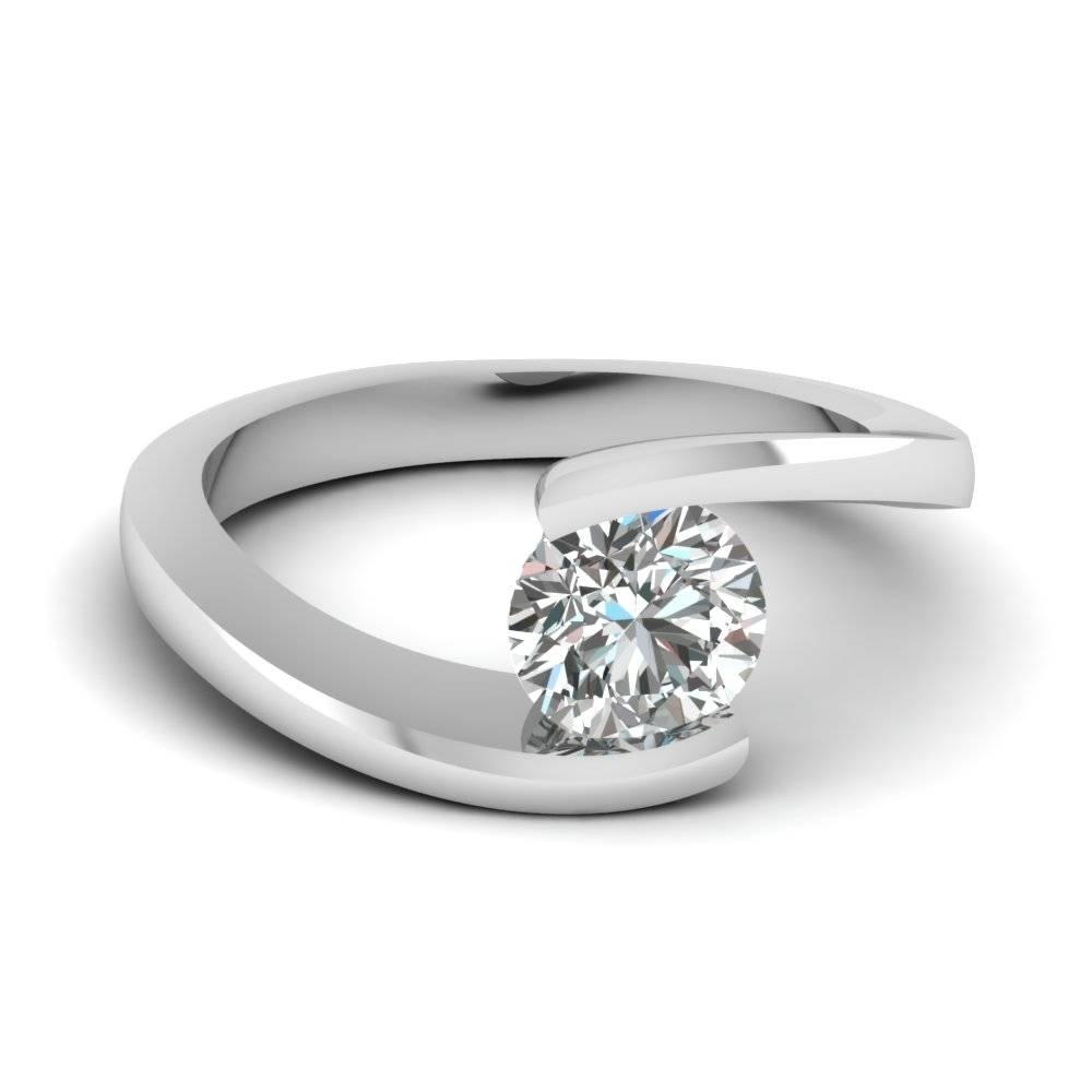 Round Cut Diamond Central Twist Solitaire Ring In 18K White Gold With Regard To Buy Diamond Engagement Rings Online (Gallery 12 of 15)