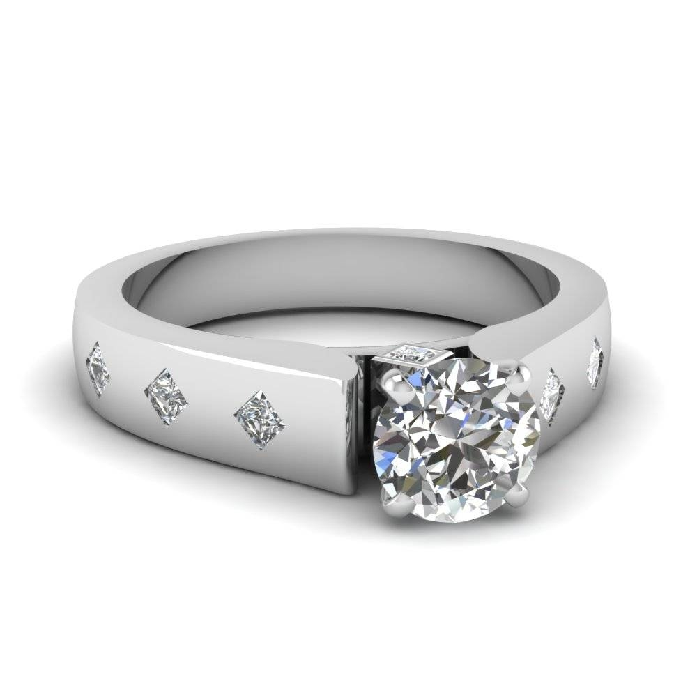 Round Cut Diamond Flush Set Side Stone Ring In 18K White Gold Within Flush Setting Engagement Rings (Gallery 4 of 15)