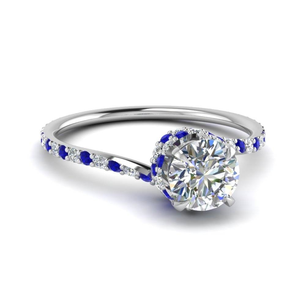Round Cut Diamond Sleek Spiral Side Stone Engagement Ring With Throughout White Gold Engagement Rings With Blue Sapphire (View 12 of 15)