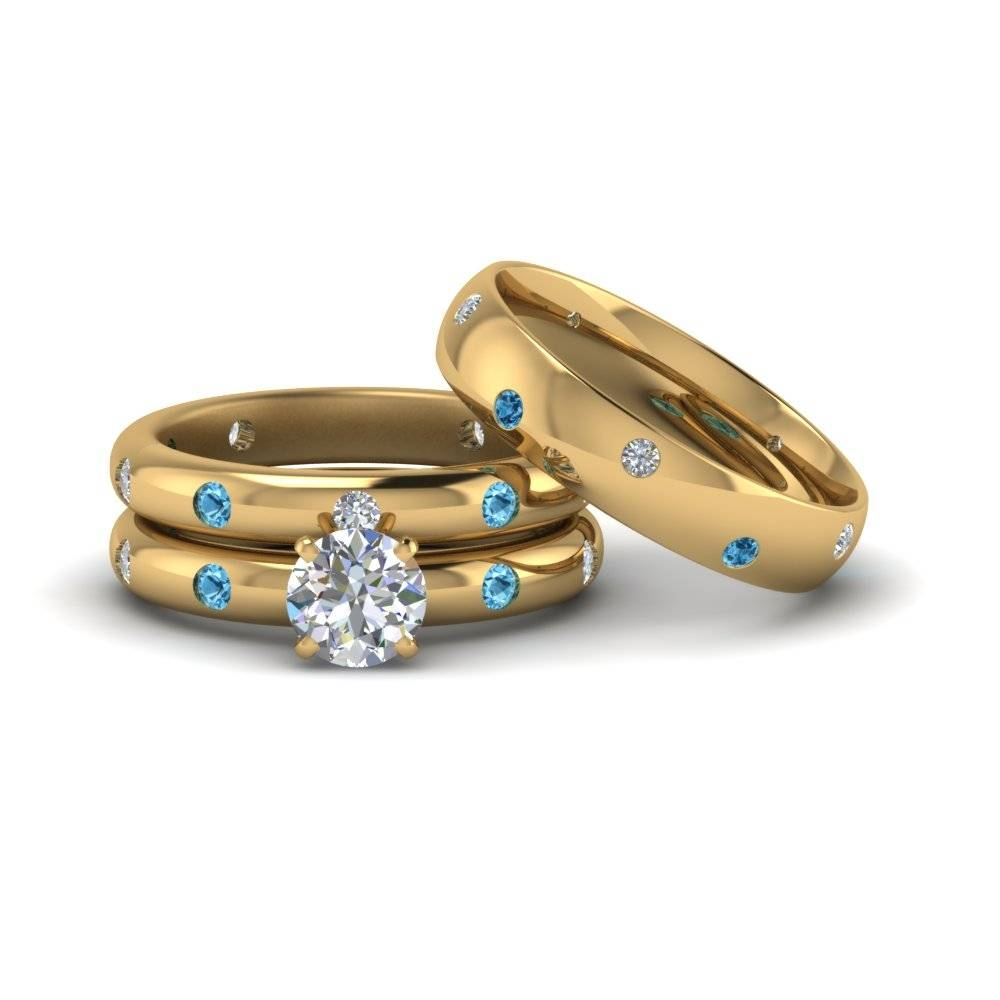 Round Cut Flush Set Trio Matching Diamond Wedding Rings For For Flush Setting Engagement Rings (Gallery 11 of 15)