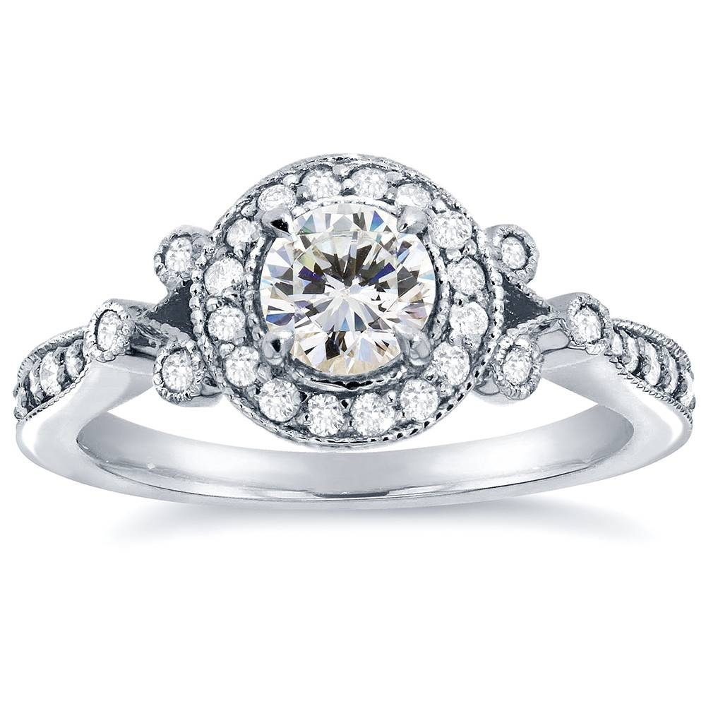 Round Cut Halo Diamond Engagement Ring 4/5 Carat (Ctw) In 14K Throughout Antique Round Diamond Engagement Rings (Gallery 14 of 15)
