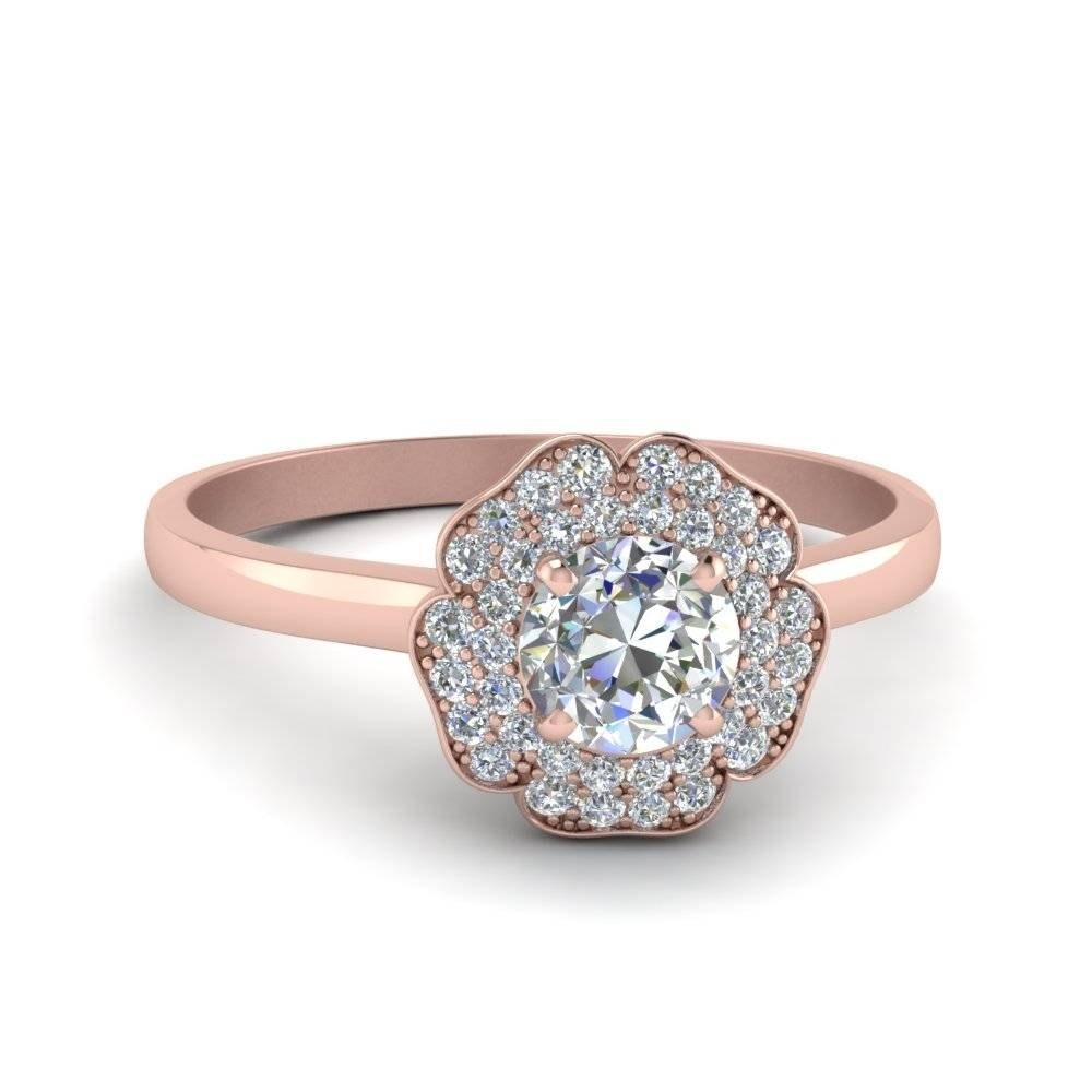 Round Cut Halo Flower 2 Row Diamond Engagement Ring In 14K Rose In Round Cut Halo Engagement Rings (Gallery 14 of 15)