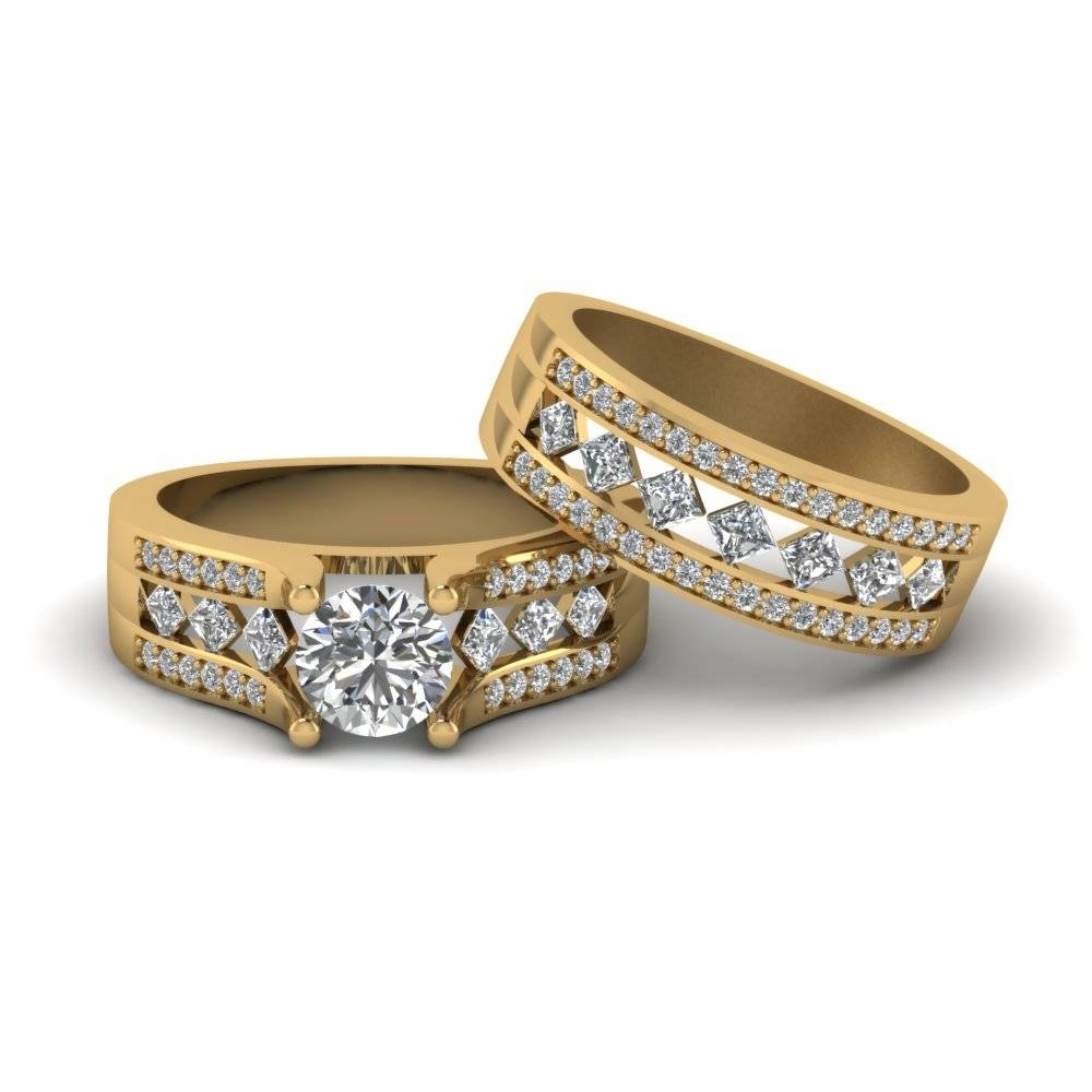 Round Cut Pave And Kite Set Diamond Bridal Set In 14K Yellow Gold Pertaining To Yellow Diamond Wedding Sets (Gallery 4 of 15)