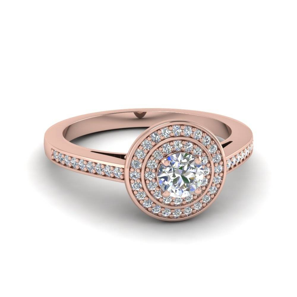 Round Cut Pave Double Halo Diamond Engagement Ring In 14K Rose Pertaining To Round Cut Halo Engagement Rings (Gallery 6 of 15)