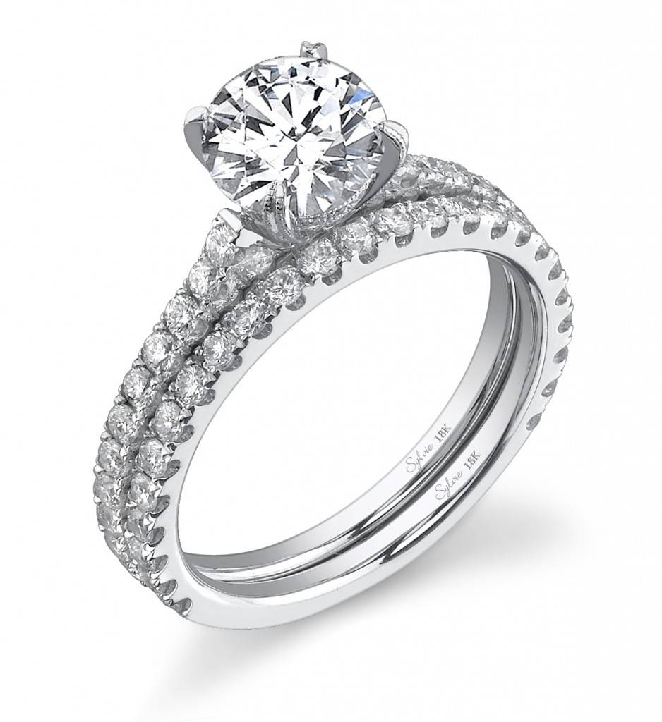 Round Cut Solitaire Diamond Engagement Ring: Sylvie Regarding Most Up To Date Wedding Band Setting Without Stones (Gallery 1 of 15)
