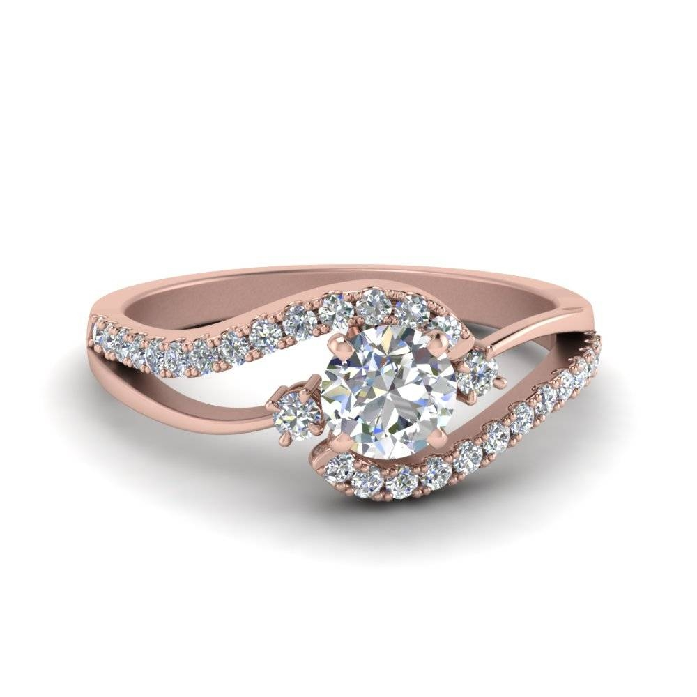 Round Cut Swirl 3 Stone Diamond Engagement Ring In 14K Rose Gold In Round Cut Engagement Rings With Side Stones (View 14 of 15)