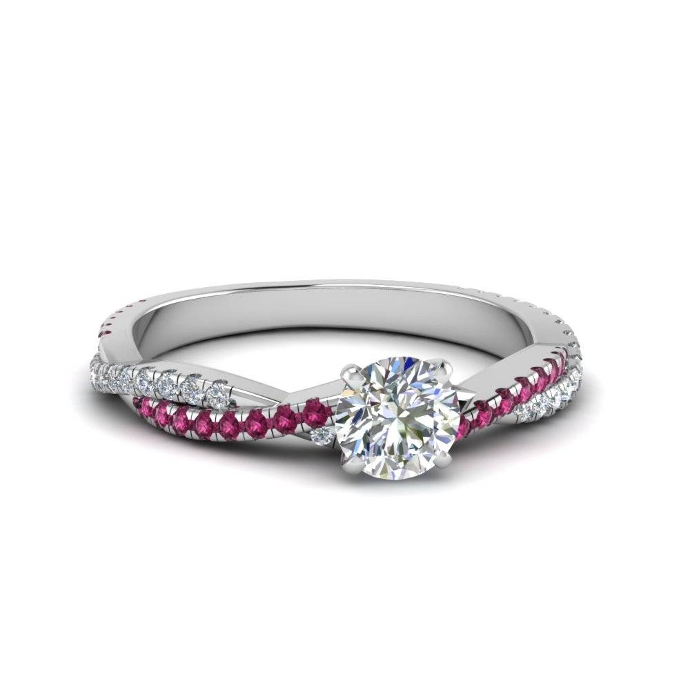 Round Cut Twisted Vine Diamond Engagement Ring For Women With Pink Within Pink Sapphire And Diamond Engagement Rings (View 13 of 15)